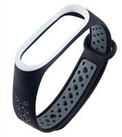 Ремешок для фитнес браслета Mi Band 3 и Mi Band 4 Черный+Серый