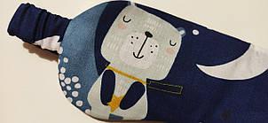 Темно-синяя маска для сна / повязка на глаза с принтом ручной работы, фото 2