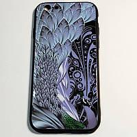 Бампер для iPhone 6/6S пластиковый Павлин Черный