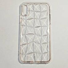 Бампер для iPhone X силиконовый граненый Прозрачный