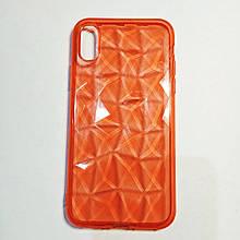 Бампер для iPhone X силиконовый граненый Красный