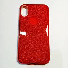 Бампер для iPhone X с блестинками Красный