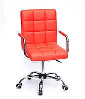 Кресло с подлокотниками Августо Augusto-ARM CH - Office красная экокожа на колесиках, хром