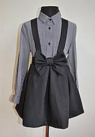 Школьная юбка со шлейками для девочек, юбка-сарафан черного цвета, фото 1