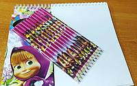 """Набор для рисования: альбом на спирали 60 листов + карандаши 12 цветов """"Маша и медведь"""" (14,5*21 см.)"""