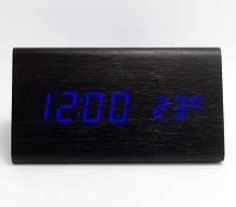 Часы настольные VST 861 Синяя подсветка Черный