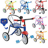 Велосипед М 5335 (8шт)3 колеса,6 цветов:красн,синий,голубой,желтый,оранж,розов,клаксон, 51-52-40см