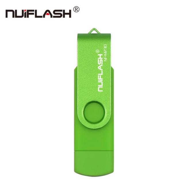 OTG USB Флеш накопитель 32 GB Nuiflash (Флешка) Зеленый