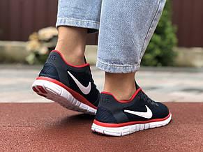 Жіночі кросівки літні Nike Free Run 3.0,темно сині з червоним, фото 3