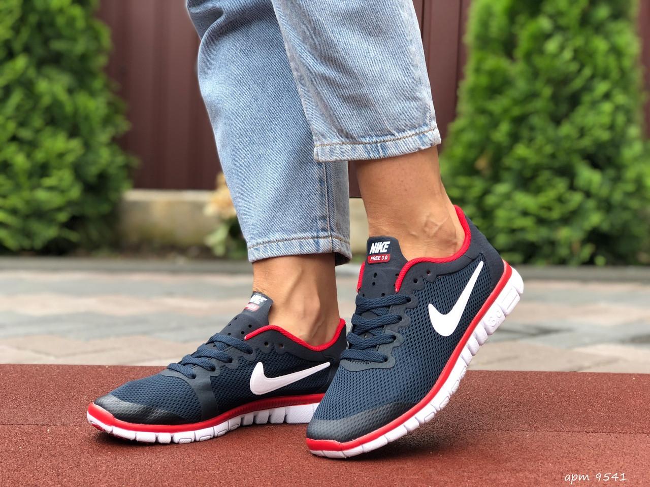 Жіночі кросівки літні Nike Free Run 3.0,темно сині з червоним