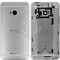 Задняя крышка батареи для HTC One M7 801n, серебристый, оригинал