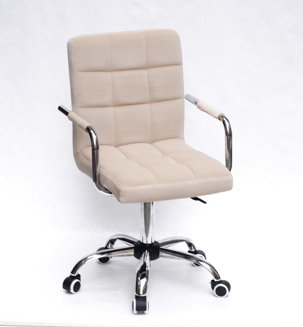 Крісло з підлокітниками Августо Augusto-ARM CH - Office бежевий оксамит на коліщатках, хром
