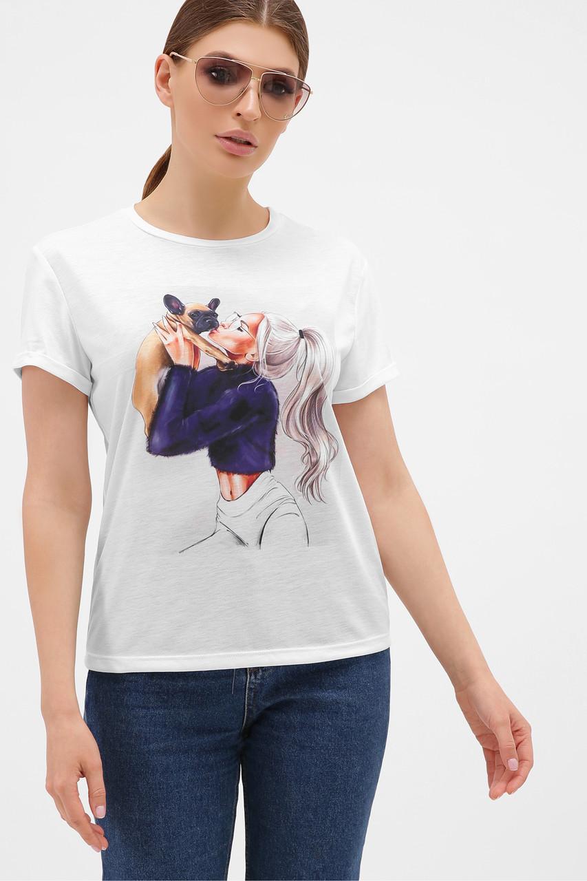 Женская футболка Девушка с собачкой Boy-2