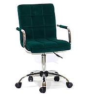 Кресло с подлокотниками Августо Augusto-ARM CH - Office зеленый бархат на колесиках, хром