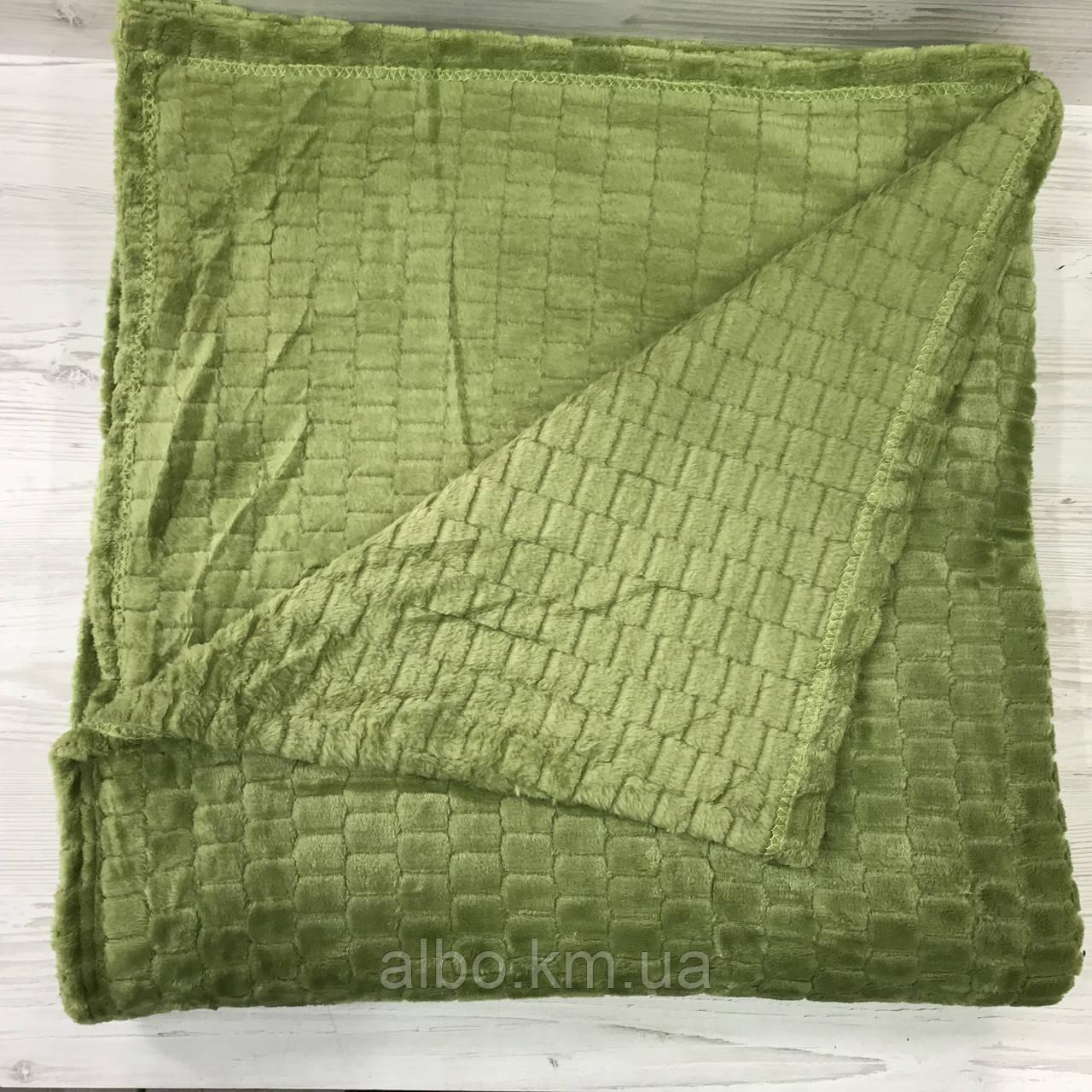 Покрывало плед Микрофибра ALBO 200х230 cm Зеленое (P-F3-22-2)