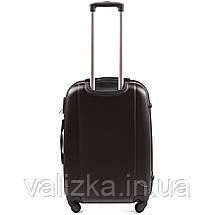 Средний пластиковый чемодан с фурнитурой в цвет темно-серый, фото 3