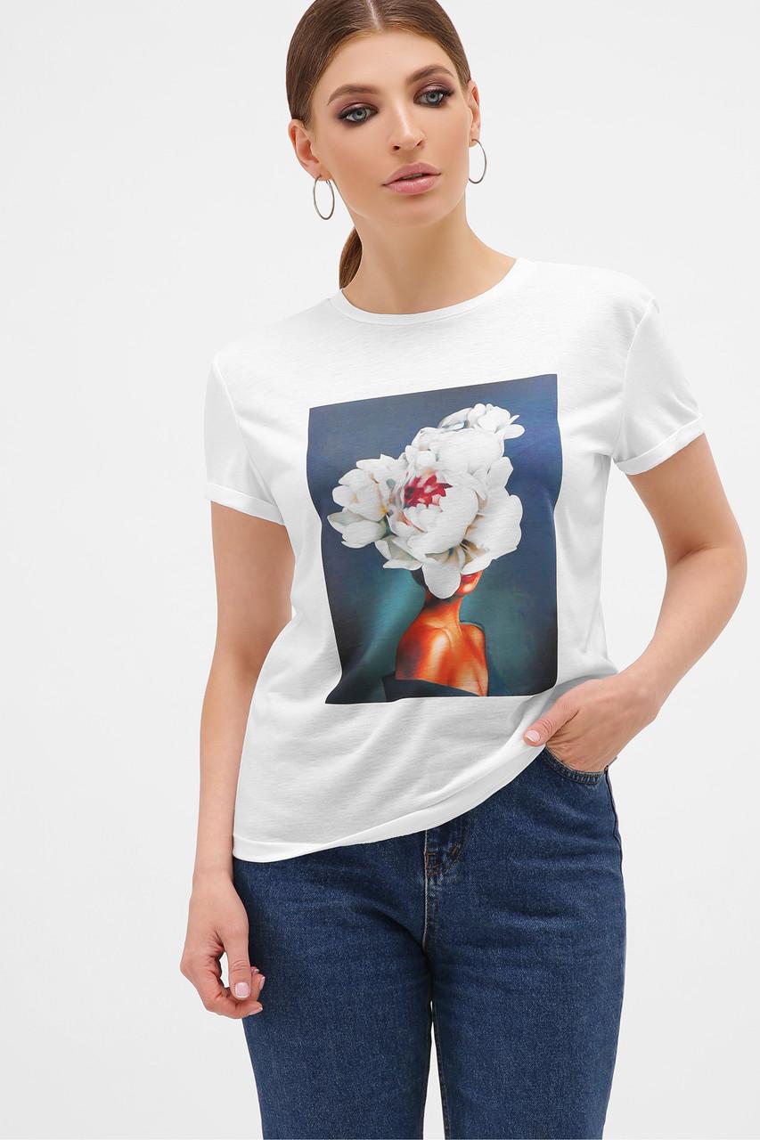 Женская футболка серый-Пион белый Boy-2
