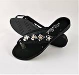 Женские Тапочки Шлёпанцы Сланцы Вьетнамки Чёрные (размеры: 37,38,39), фото 2