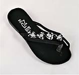 Женские Тапочки Шлёпанцы Сланцы Вьетнамки Чёрные (размеры: 37,38,39), фото 4