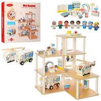 Деревянная игрушка Гараж MD 2391 (5шт) мед.помощь,3этажа,транспорт,мебель,в кор-ке, 52-48-10см