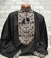 Рубаха вышитая на домотканом полотне мужская, в украинском стиле, фото 1