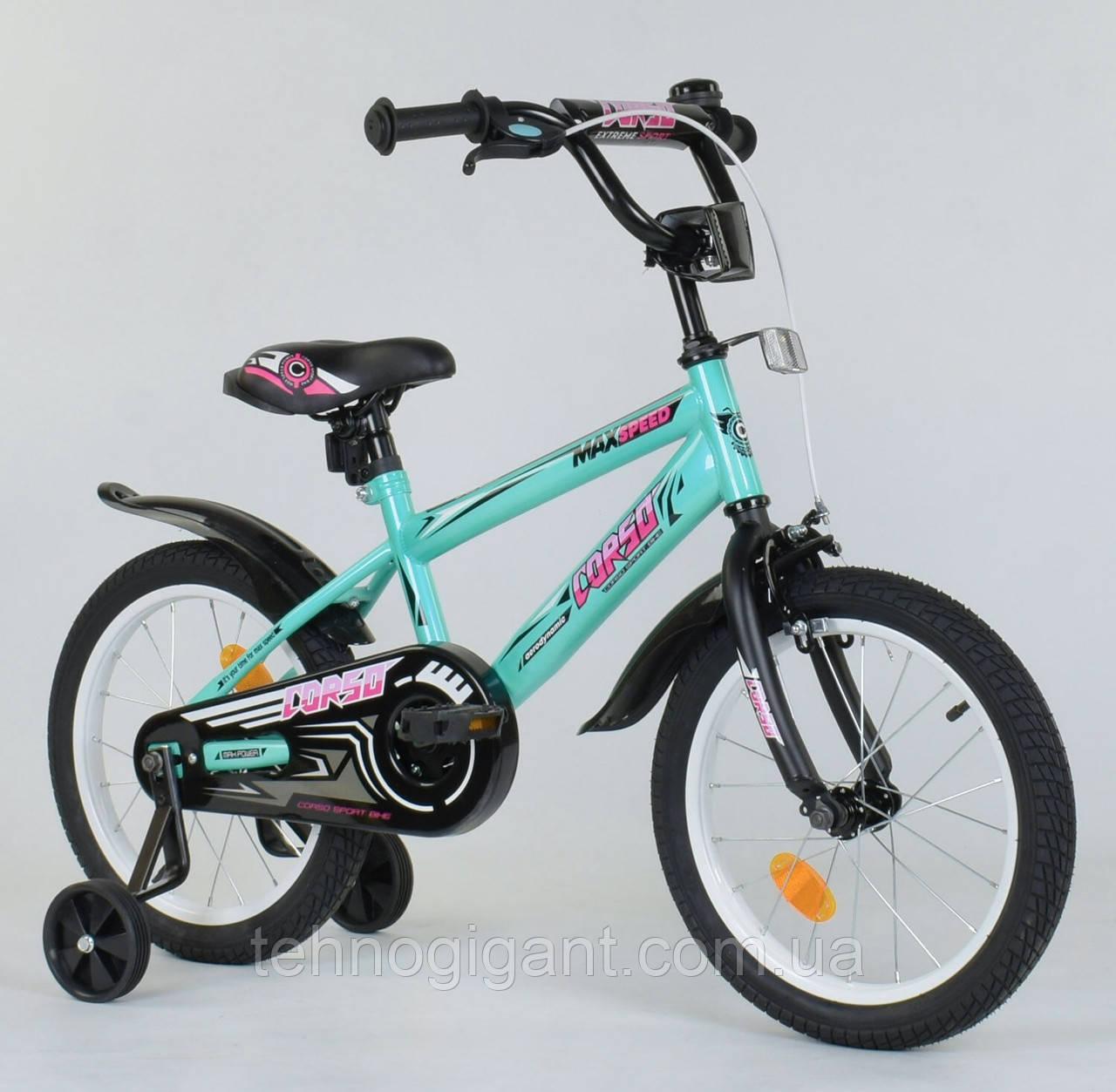 Двухколесный детский велосипед 16 дюймов Corso ЕХ-16 N 5171 Бирюзовый, 4-6 лет, боковые колеса, ручной тормоз