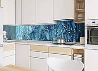 """Скинали на кухню Zatarga """"Роса"""" 600х2500 мм синий виниловая 3Д наклейка кухонный фартук самоклеящаяся"""