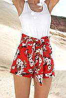 Льняные летние яркие женские высокие шорты с цветами (1338.4164-4165-4163-4217 svt) Красный