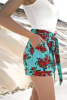 Льняные летние яркие женские высокие шорты с цветами (1338.4164-4165-4163-4217 svt) Бирюзовый