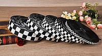 Лента репсовая,черно белая,шахматная доска,ширина 2.5 см 100 ярдов