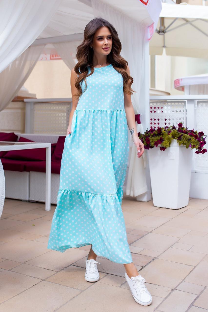 Платье длинное в пол макси горох Мята1