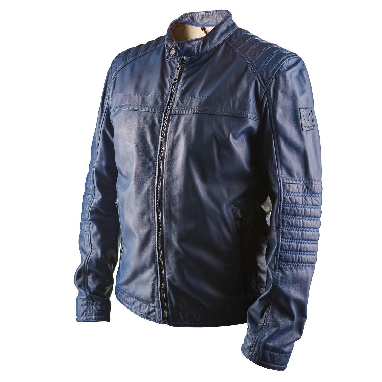 Мужская кожаная куртка Brixton темно-синяя
