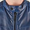 Мужская кожаная куртка Brixton темно-синяя, фото 5