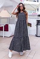 Платье длинное в пол макси горох Черный