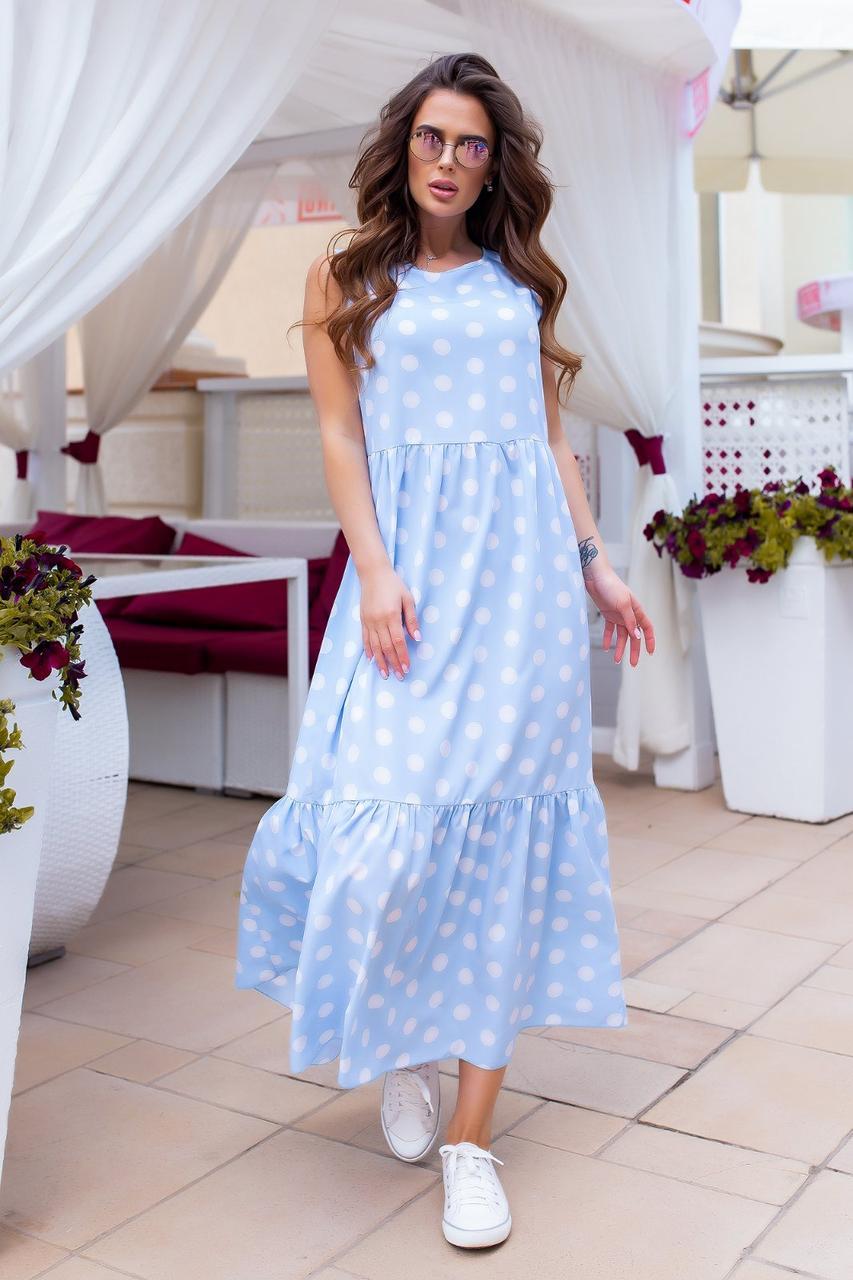 Плаття довге в підлогу максі горох Голубой2