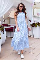 Плаття довге в підлогу максі горох Голубой2, фото 1