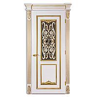 Межкомнатная дверь Casa Verdi Bourbon 4 из  массива ольхи с витражным стеклом белая с золотой патиной