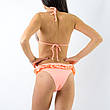 Купальник бикини персиковый 2020 Раздельный купальник с цветами на лифе молодёжный трендовый 135-30, фото 2