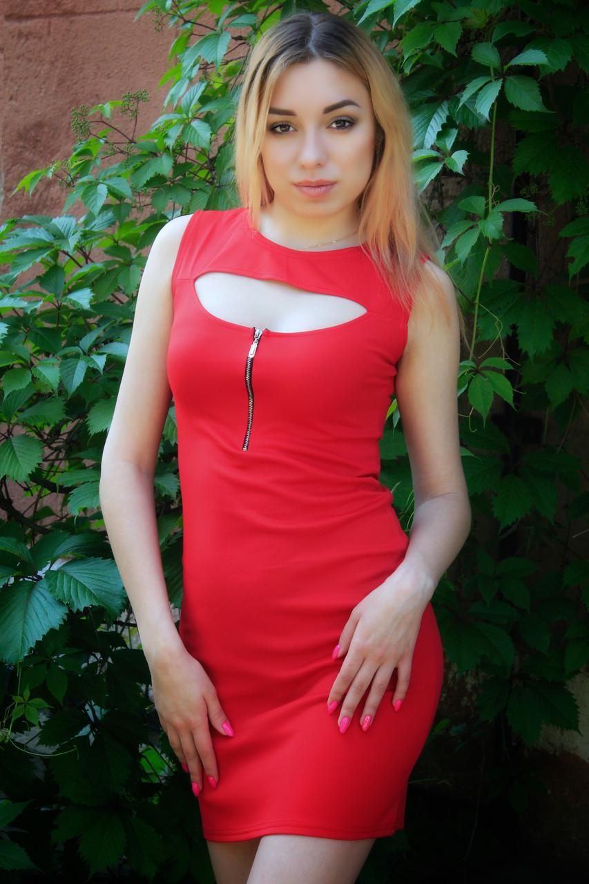 Красивое летнее платье с молнией на груди