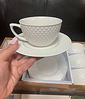 """Фарфоровый белый чайный набор на 6 персон """"Классика"""" 359-295"""