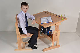 Парта и стул регулируемые 90 см, ДСП+ дерево бук