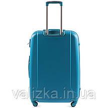 Большой пластиковый чемодан с фурнитурой в цвет голубой, фото 3