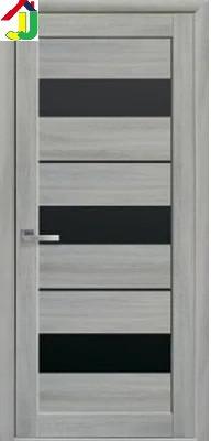 Двері міжкімнатні Новий стиль Лілу Мода екошпон Ясен патина скло BLK