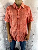 Рубашка мужская Welldone 123 с коротким рукавом оранжевая M - 2XL