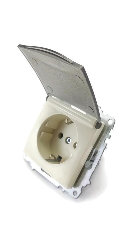 Розетка одинарная с заземлением и защитной крышкой без рамки Ел би Зена Кремовая