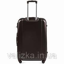 Большой пластиковый чемодан с фурнитурой в цвет кофейный, фото 3