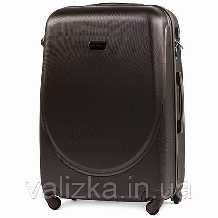 Большой пластиковый чемодан с фурнитурой в цвет кофейный, фото 2