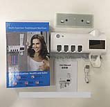 Стерилизатор для зубных щеток на 4 секции с дозатором Multi-function Toothbrush Sterilizer (UV стерилизатор), фото 2