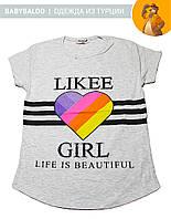 """Красивая футболка  для девочки """"Likee"""" (от 9 до 12 лет) - арт.1201205007"""