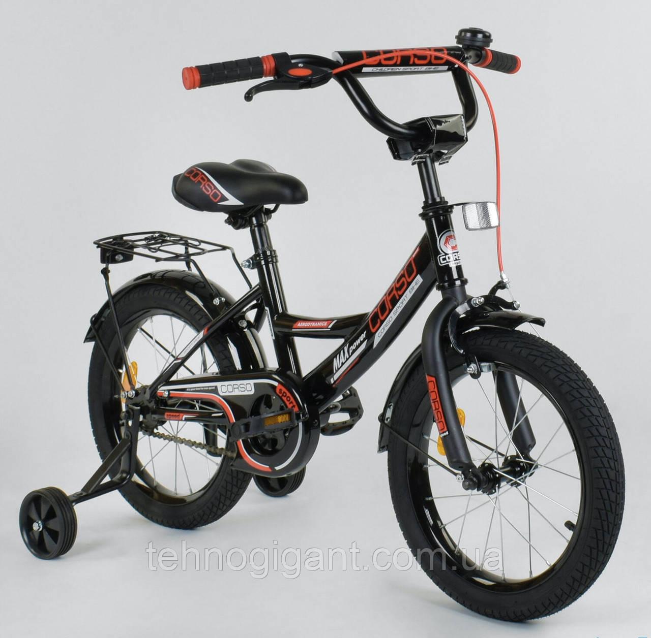 Велосипед детский двухколесный 16 дюймов Черный, CORSO CL-16, 4-6 лет, боковые колеса, ручной тормоз, багажник